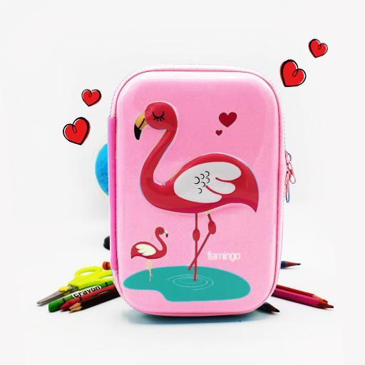 Double zipper pencil case -Flamingo