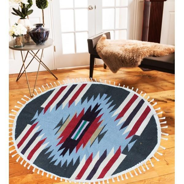 Hand-woven Woolen Rug - Round Small -fm-gkrrs1