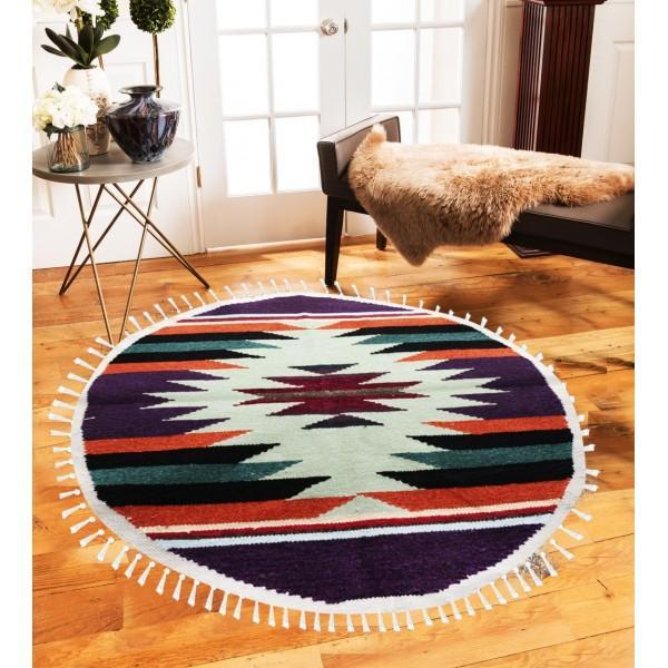 Hand-woven Woolen Rug - Round Small -fm-gkrrs6