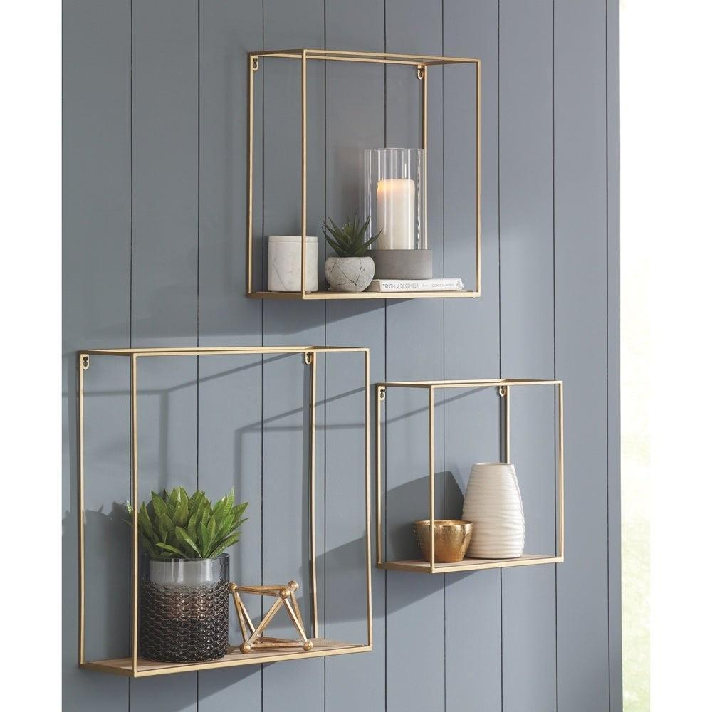 Nested Metal Wall Mounted Square Frames with Shelves