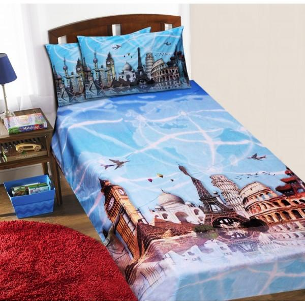 Single Kids Bed Sheet Set - Landmarks