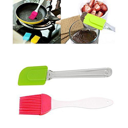 Silicone Oil Brush & Cake Spatula - 2 in 1