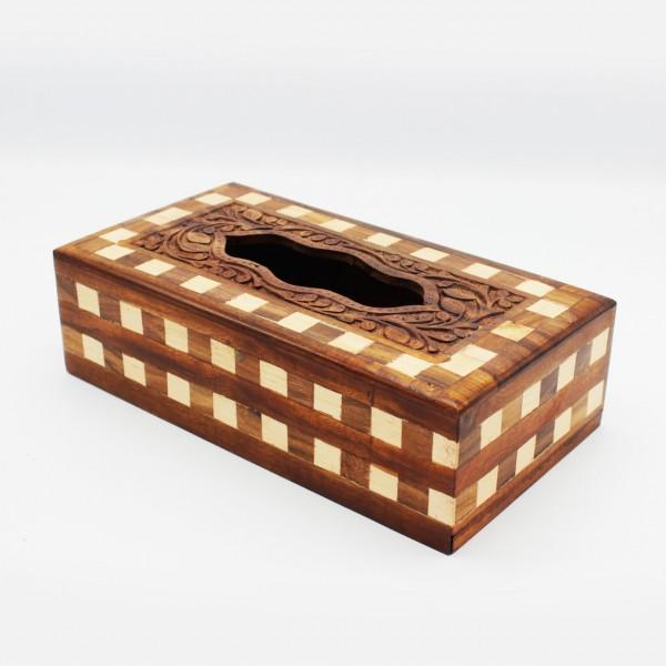 "Wooden Tissue Box - Carving - Chequered - 11""x 6""x 3"""