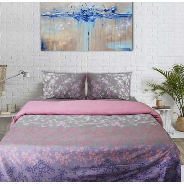 Export Cotton Quilt Cover Set - 4 pcs -  Pink and Gray Floral