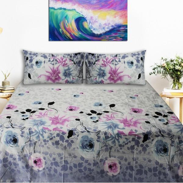 Export Quality Bed Sheet - White Floral