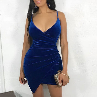 Blue Velvet Bodycon  Backless Dress