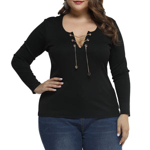 Black Hollow Out Lace Up Blouse