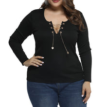 Load image into Gallery viewer, Black Hollow Out Lace Up Blouse