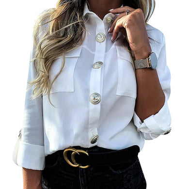 Casual Button Down Blouse With Pockets