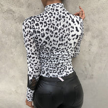 Load image into Gallery viewer, Fashion Leopard Print Turtleneck Blouse