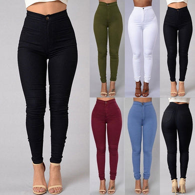 Women Jeans Fashion Solid Leggings Sexy Fitness High Waist Trousers Female White Black Blue Skinny Fashion Clothing