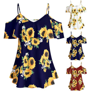Sunflower Printed Ruffle Off Shoulder Blouse