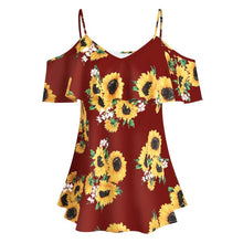 Load image into Gallery viewer, Sunflower Printed Ruffle Off Shoulder Blouse