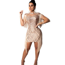 Load image into Gallery viewer, Shimmering Tassel Sequins Evening Party Bodycon Dress with Cape