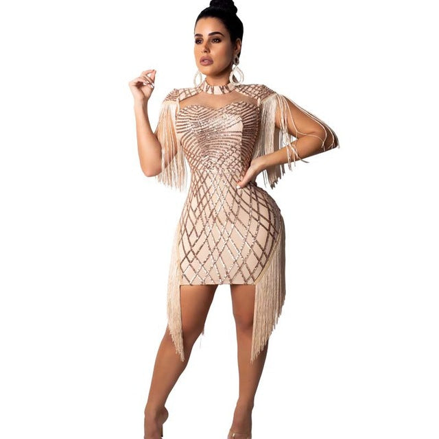 Shimmering Tassel Sequins Evening Party Bodycon Dress with Cape