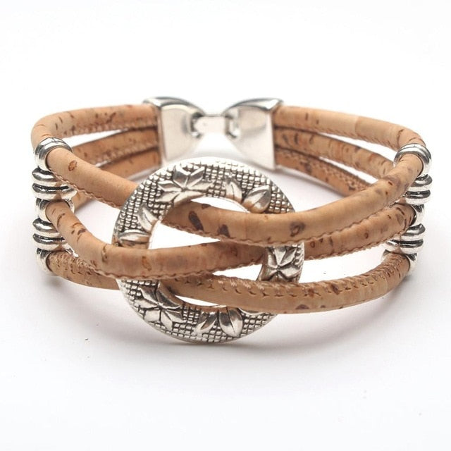 Cork Circle of Flowers Bracelet