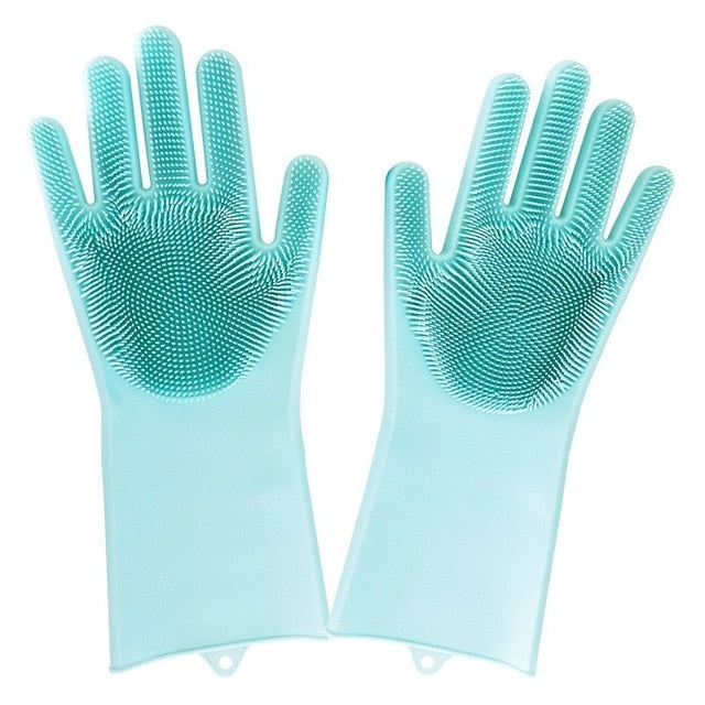 1 Pair Magic Silicone Dish Washing Gloves