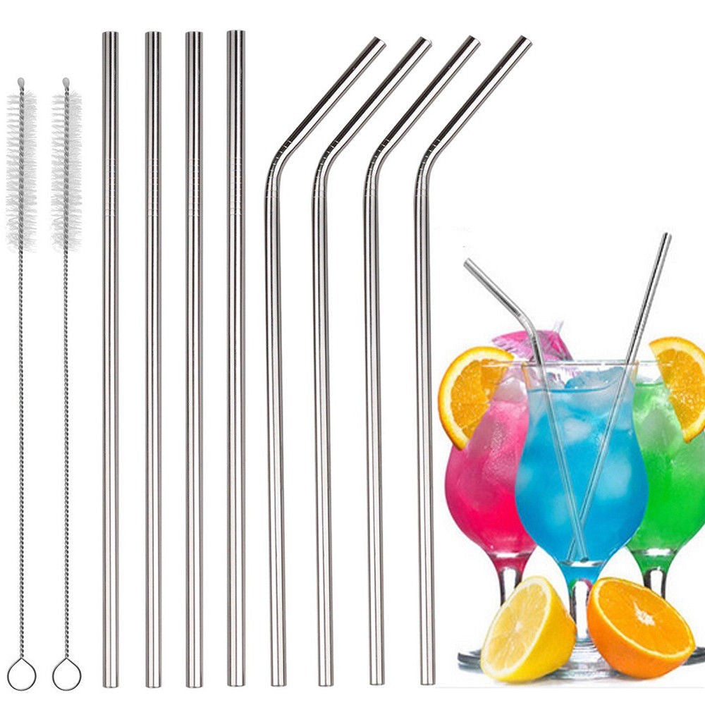10 pc Stainless Steel Drinking Straws