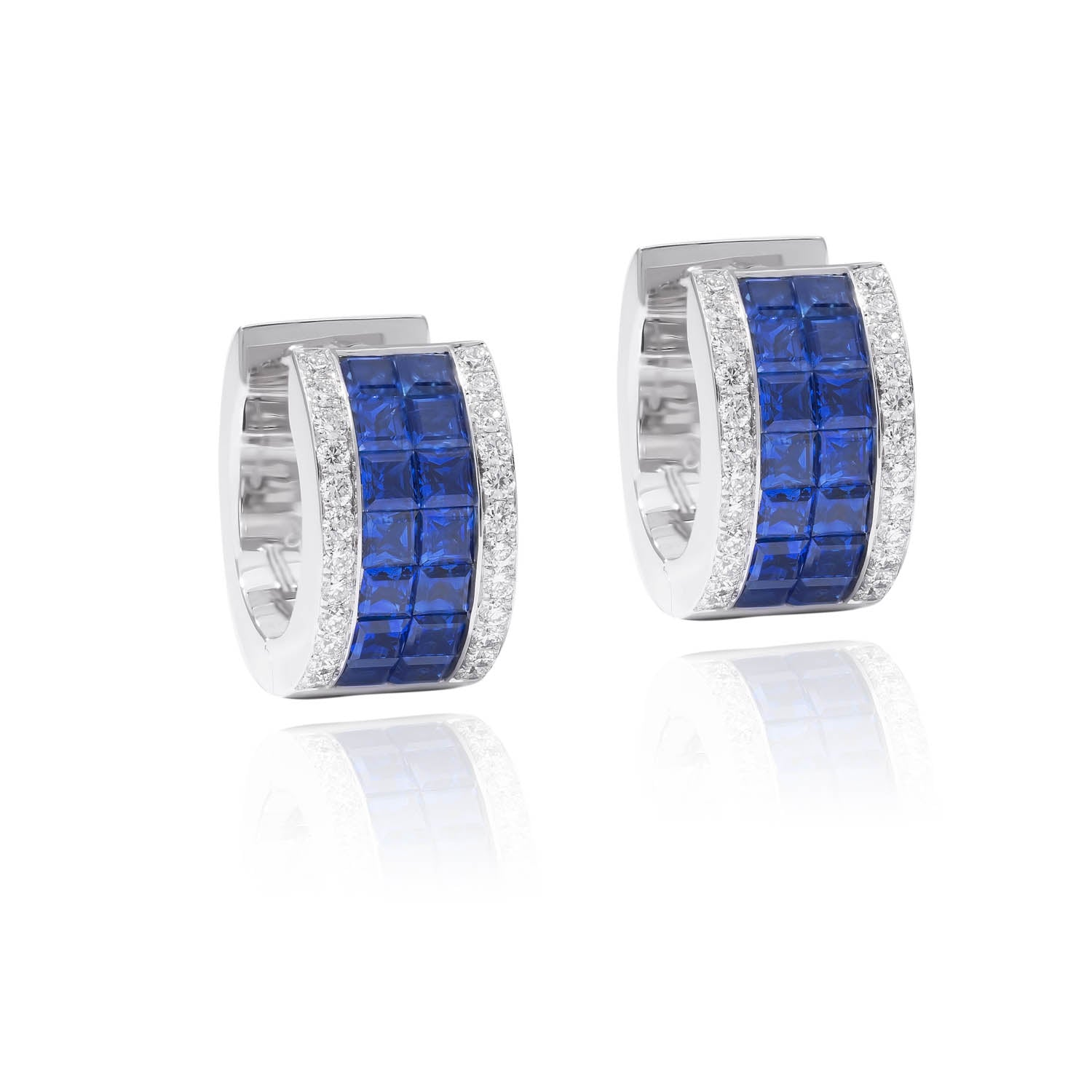 Classic Earrings, Diamond Sapphire