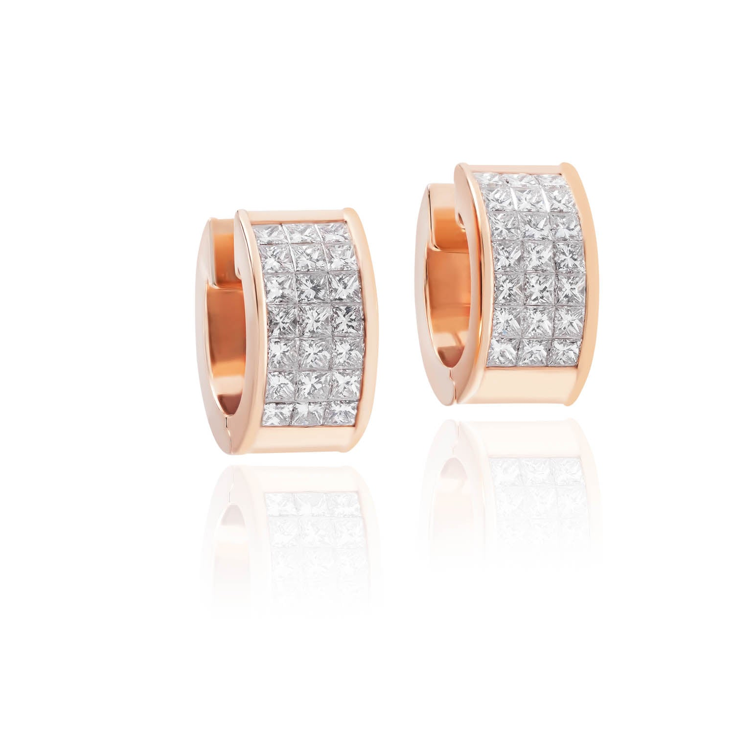 Classic Earrings, Diamond Round 3 row