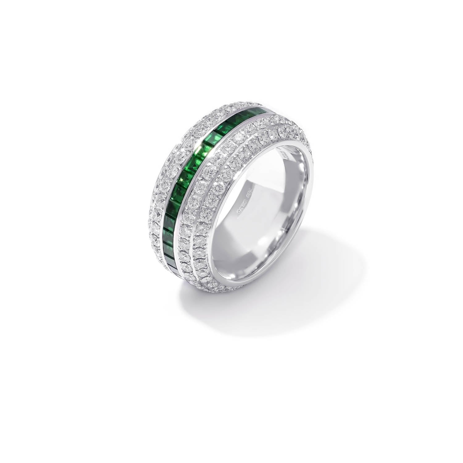 Classic Band Ring, Diamond Emerald