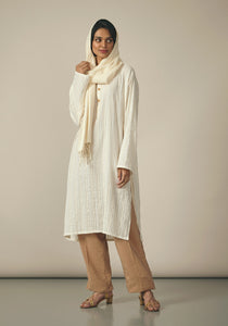 Koel, Cotton White Striped Kurta