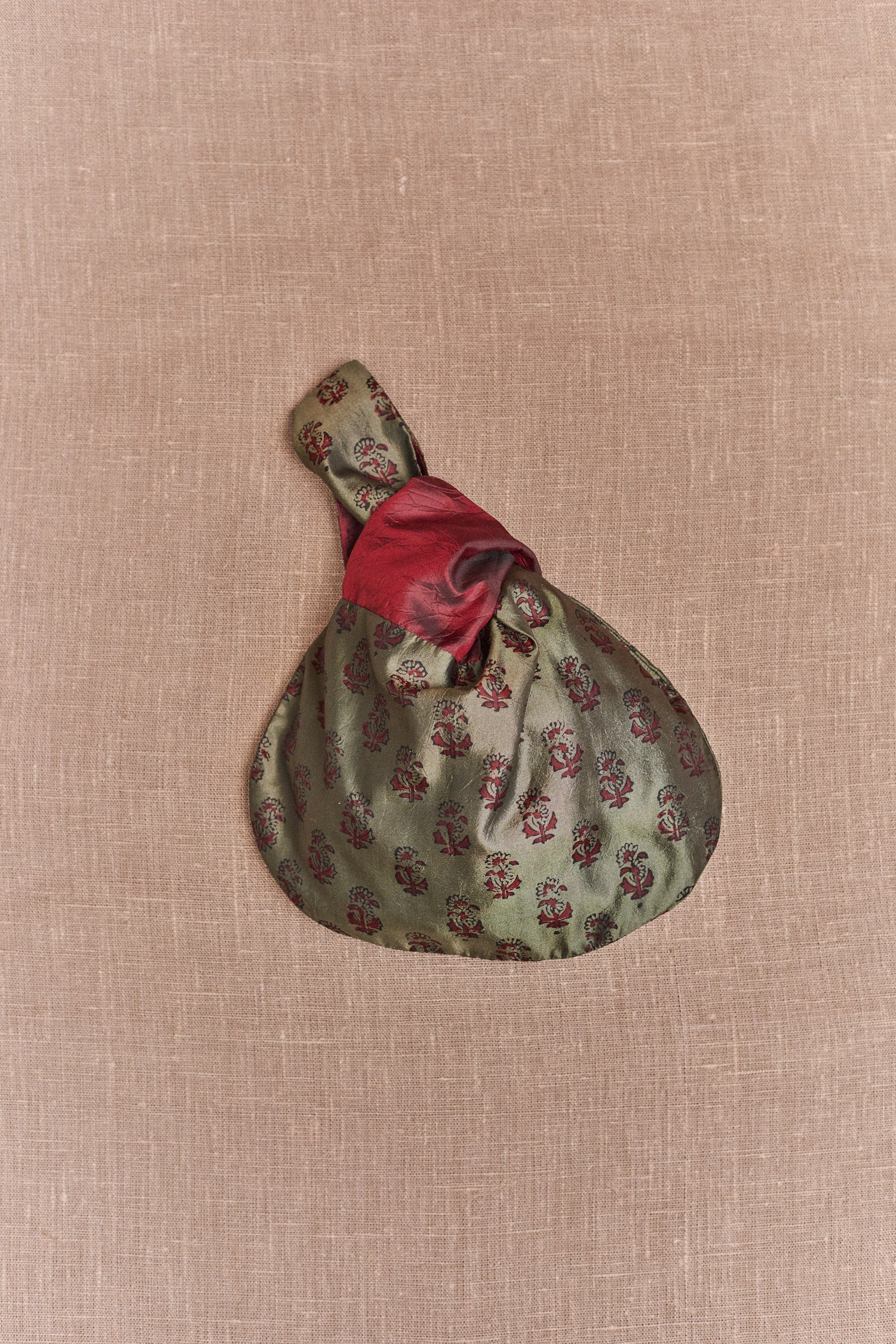 Koel, Mini Tie Bag Moss Green and Maroon Print