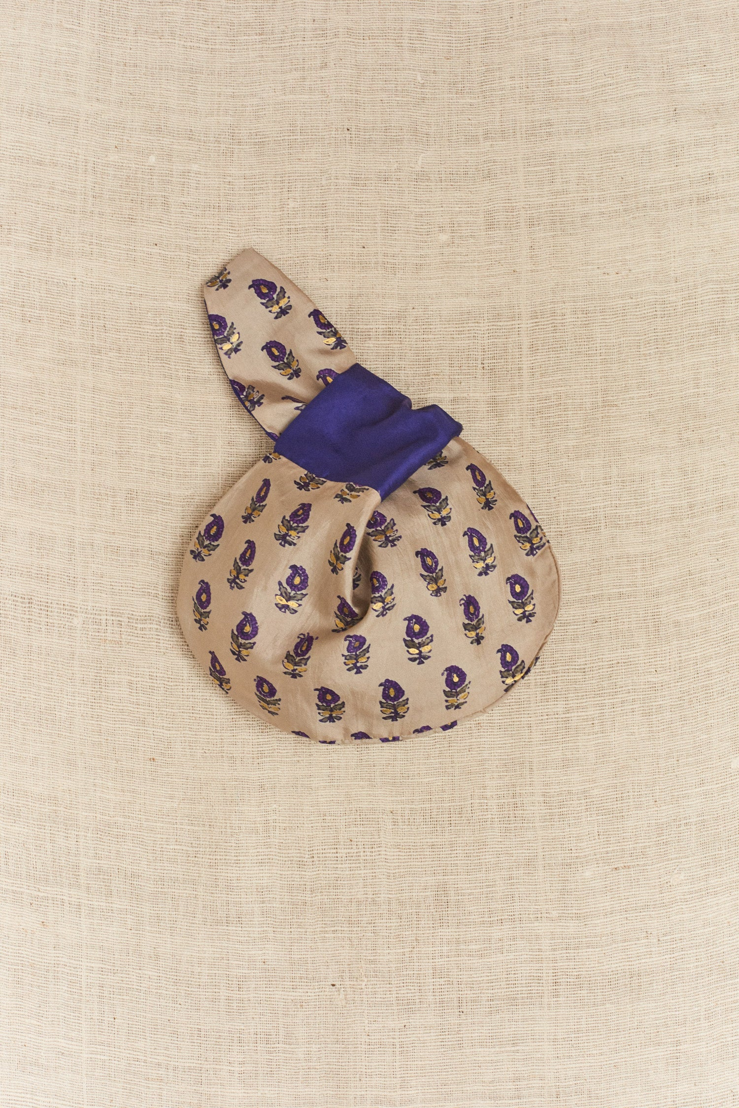 Koel, Mini Tie Bag Beige and Purple Floral Print