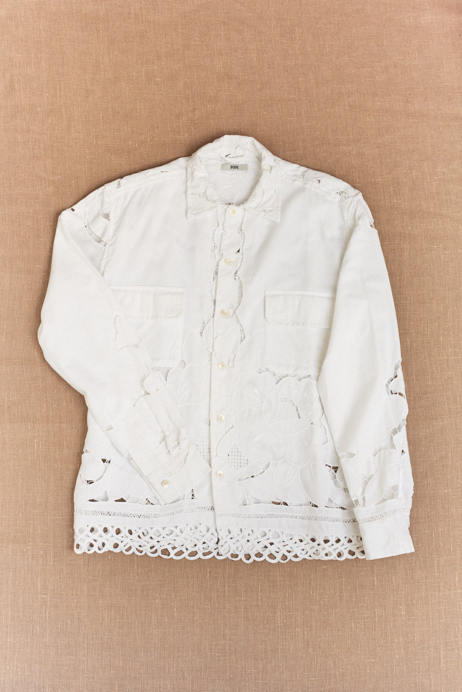 Bode, One-Of-A-Kind Ladderwork Lace Shirt