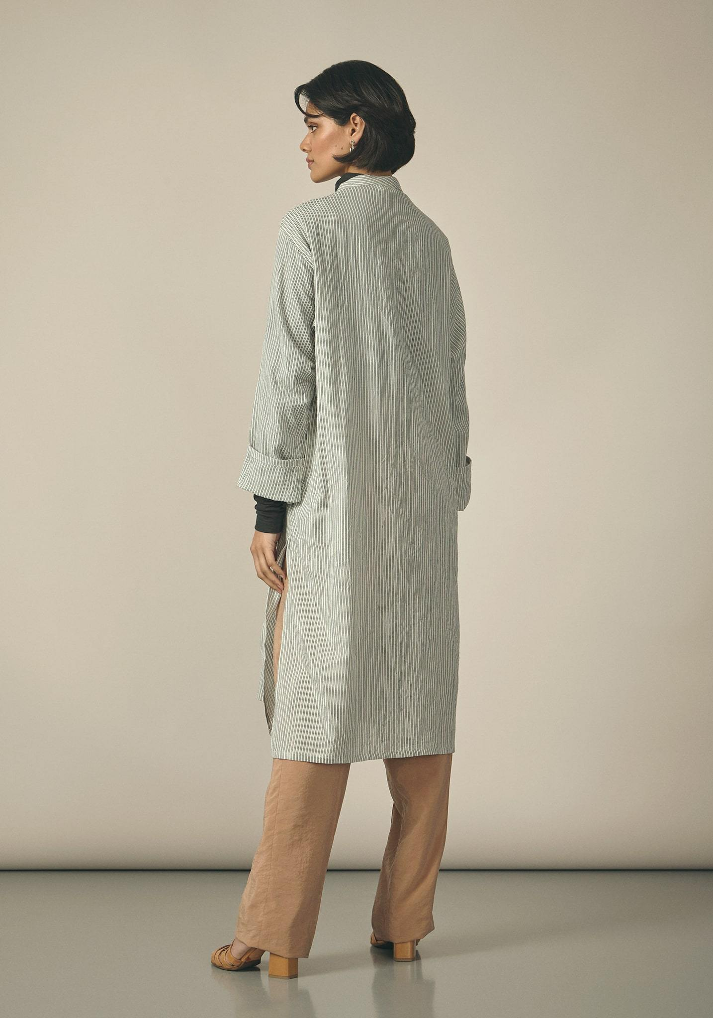 Koel, Cotton Blue and White Striped Kurta