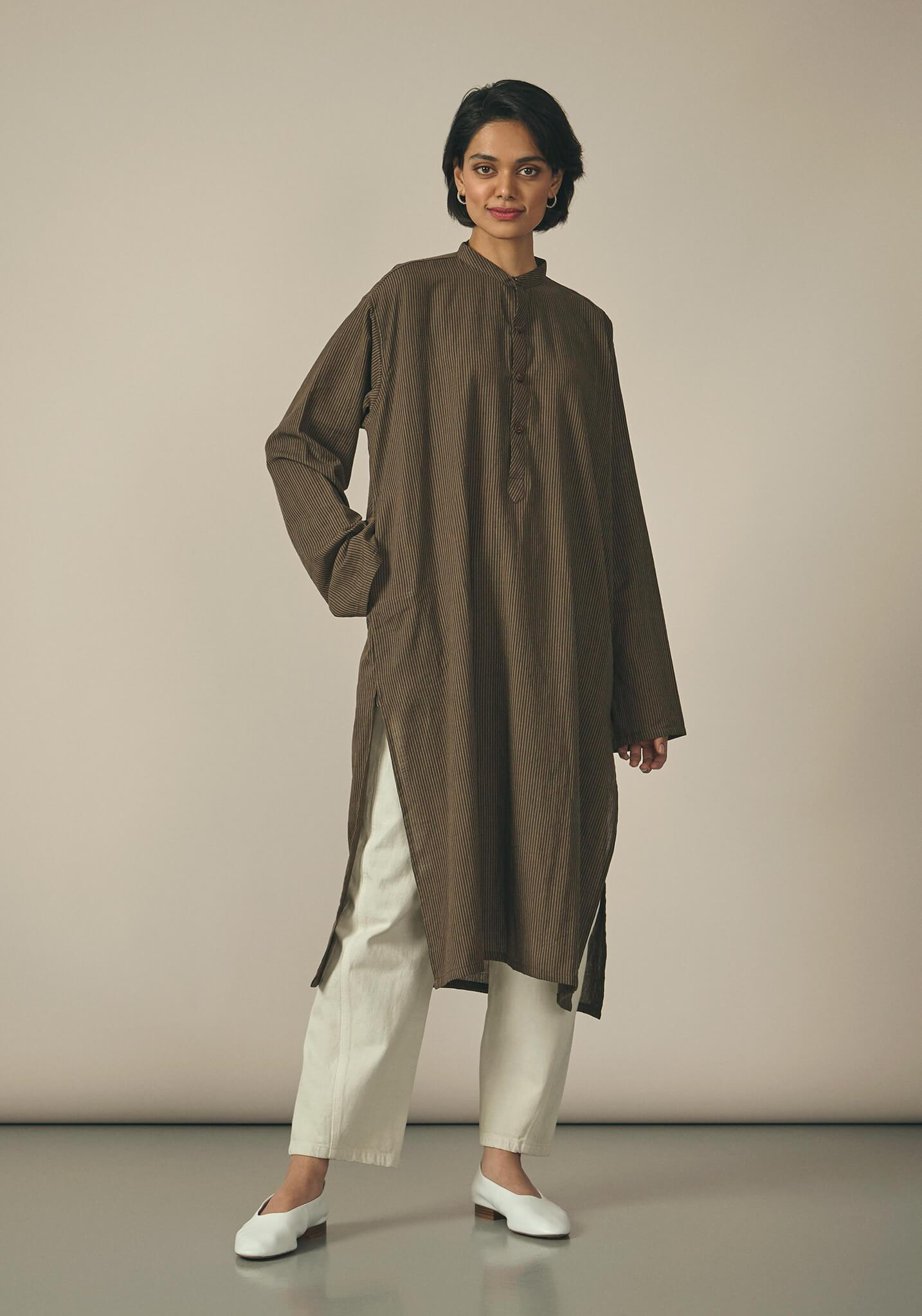 Koel, Cotton Brown Striped Kurta