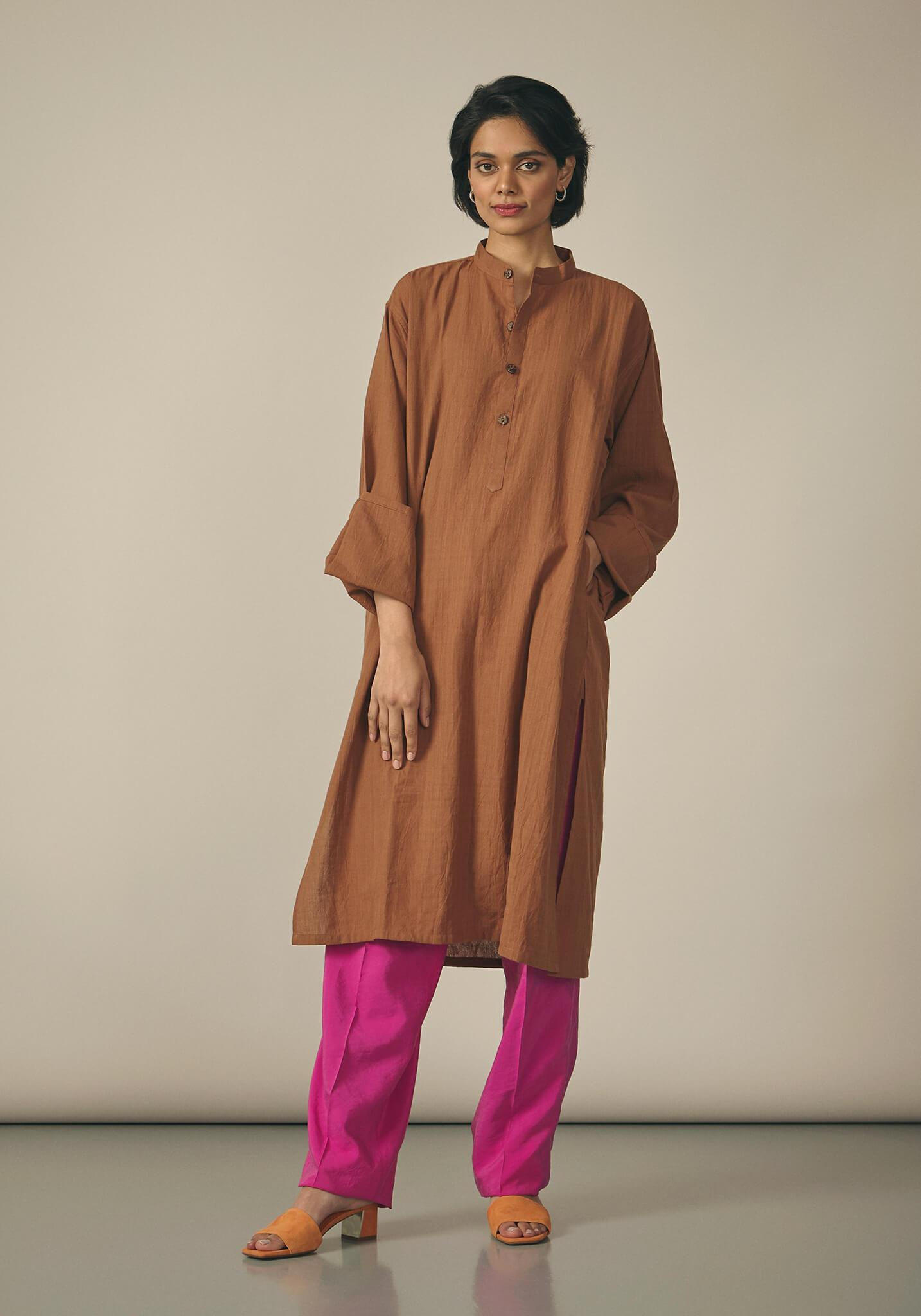 Koel, Cotton Rust Brown Kurta