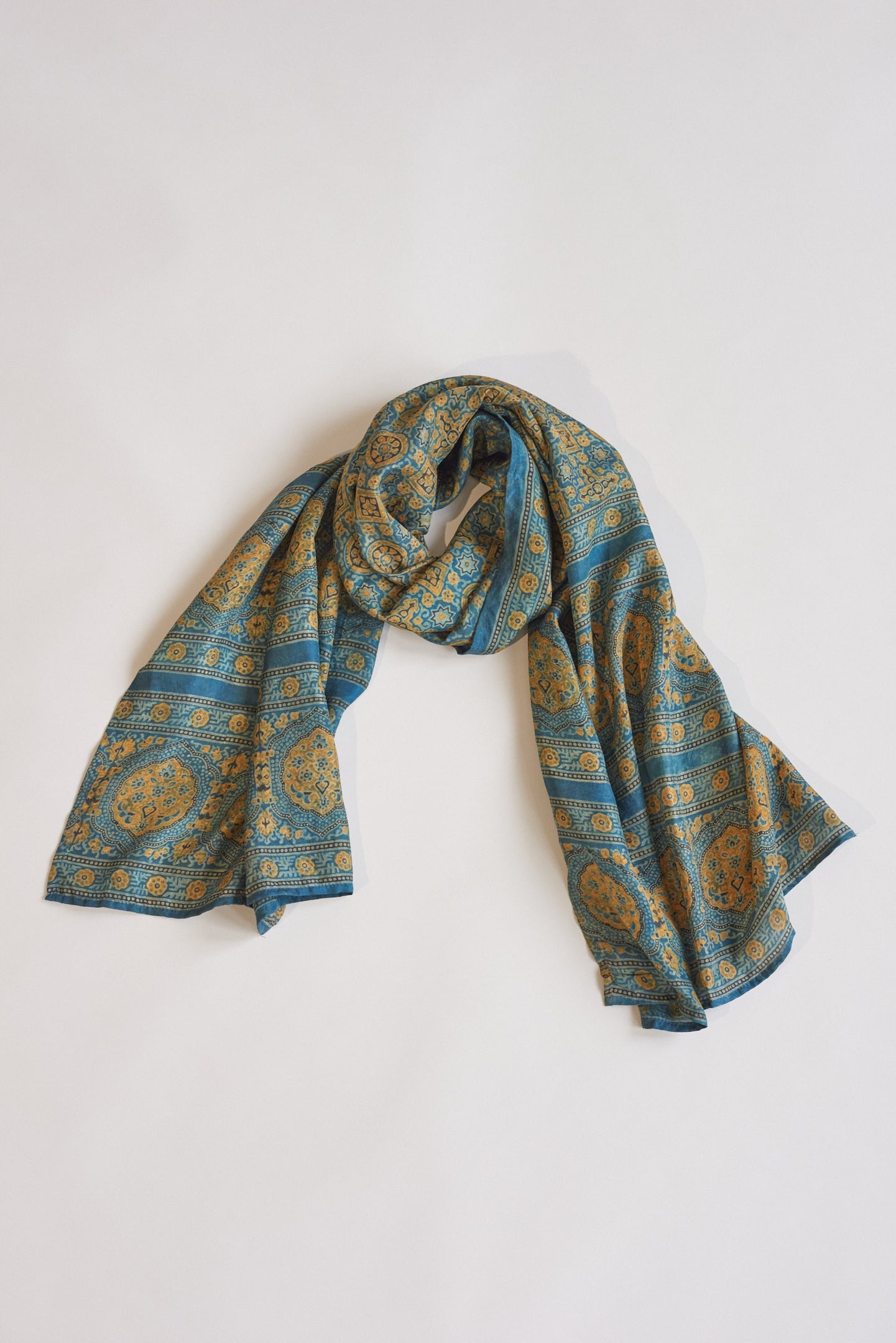 Koel, Dyed Silk Scarf Blue and Ochre