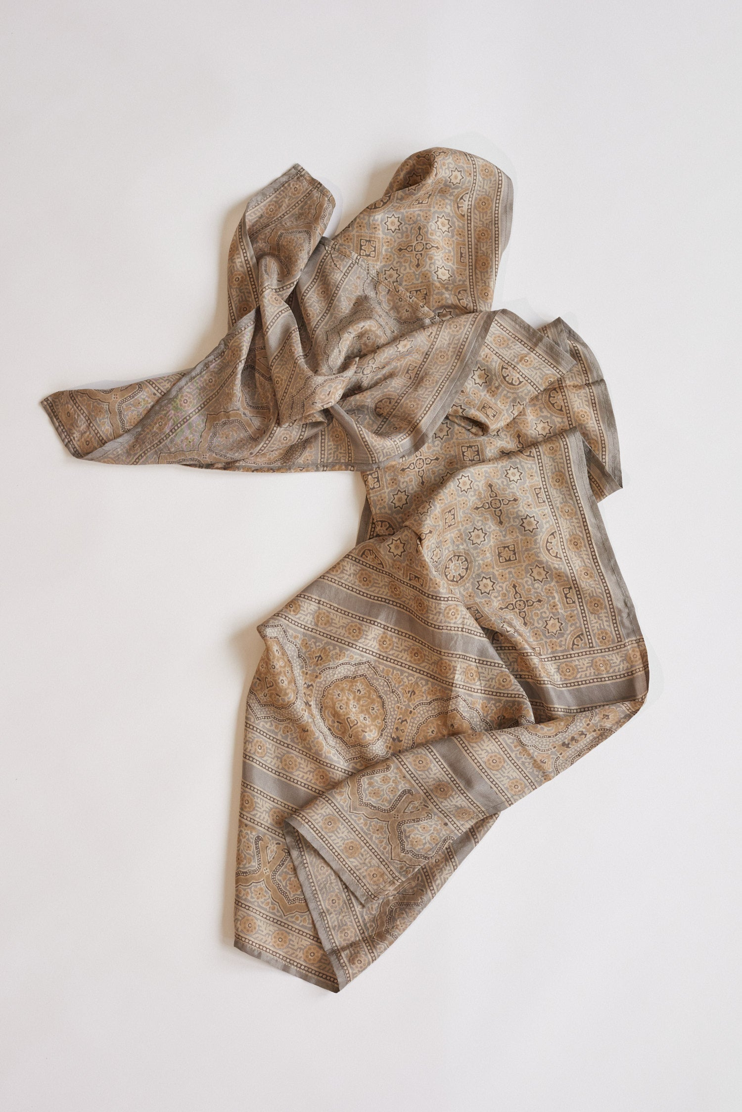 Koel, Dyed Silk Scarf Brown and Tan
