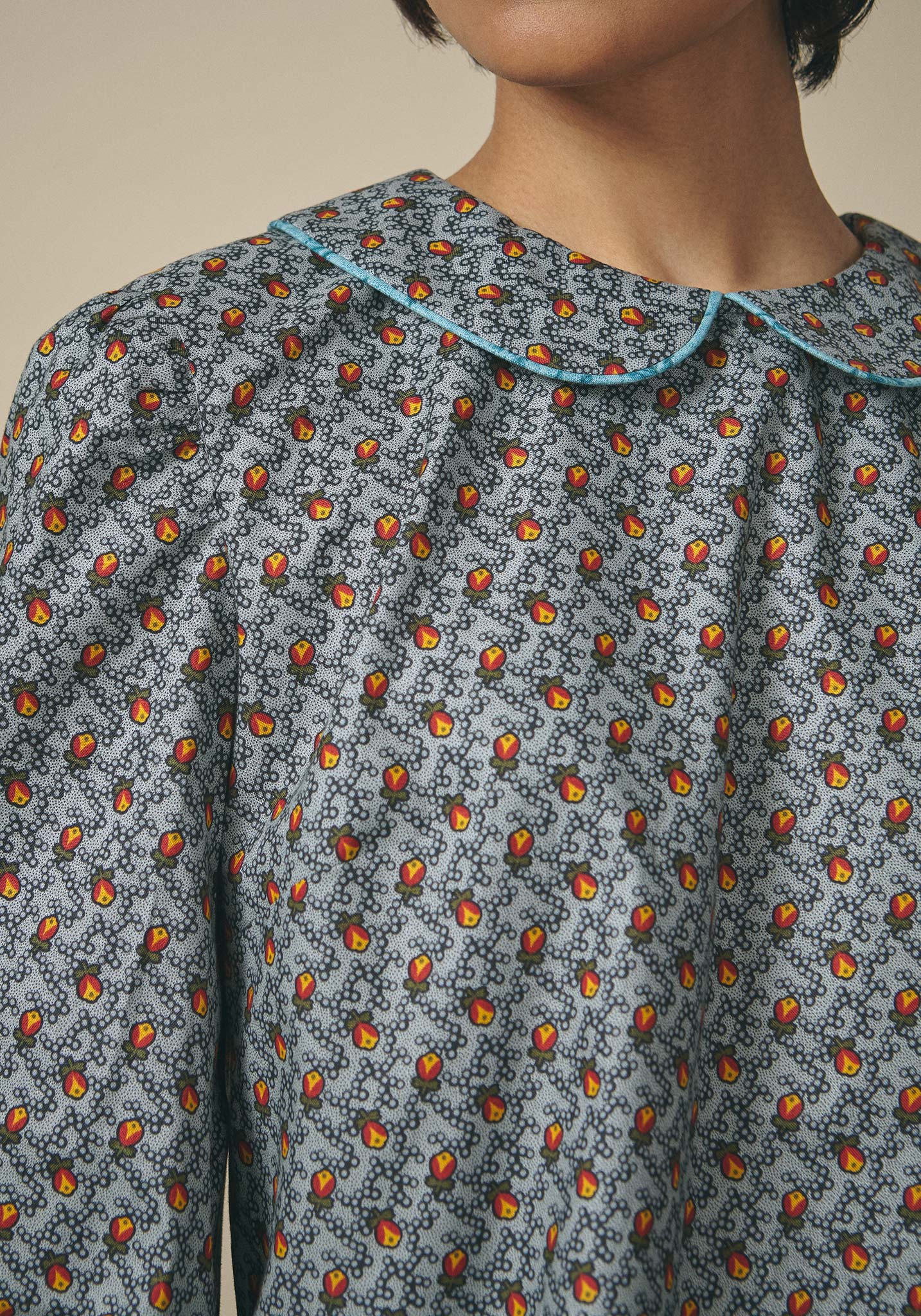 Batsheva, Blue Floral Peter Pan Blouse