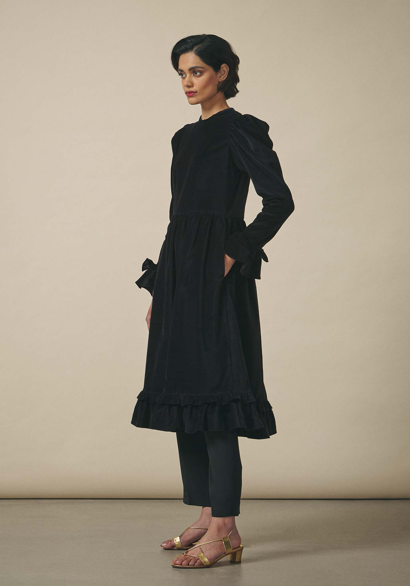 Batsheva, Black Velvet Collarless Prairie Dress