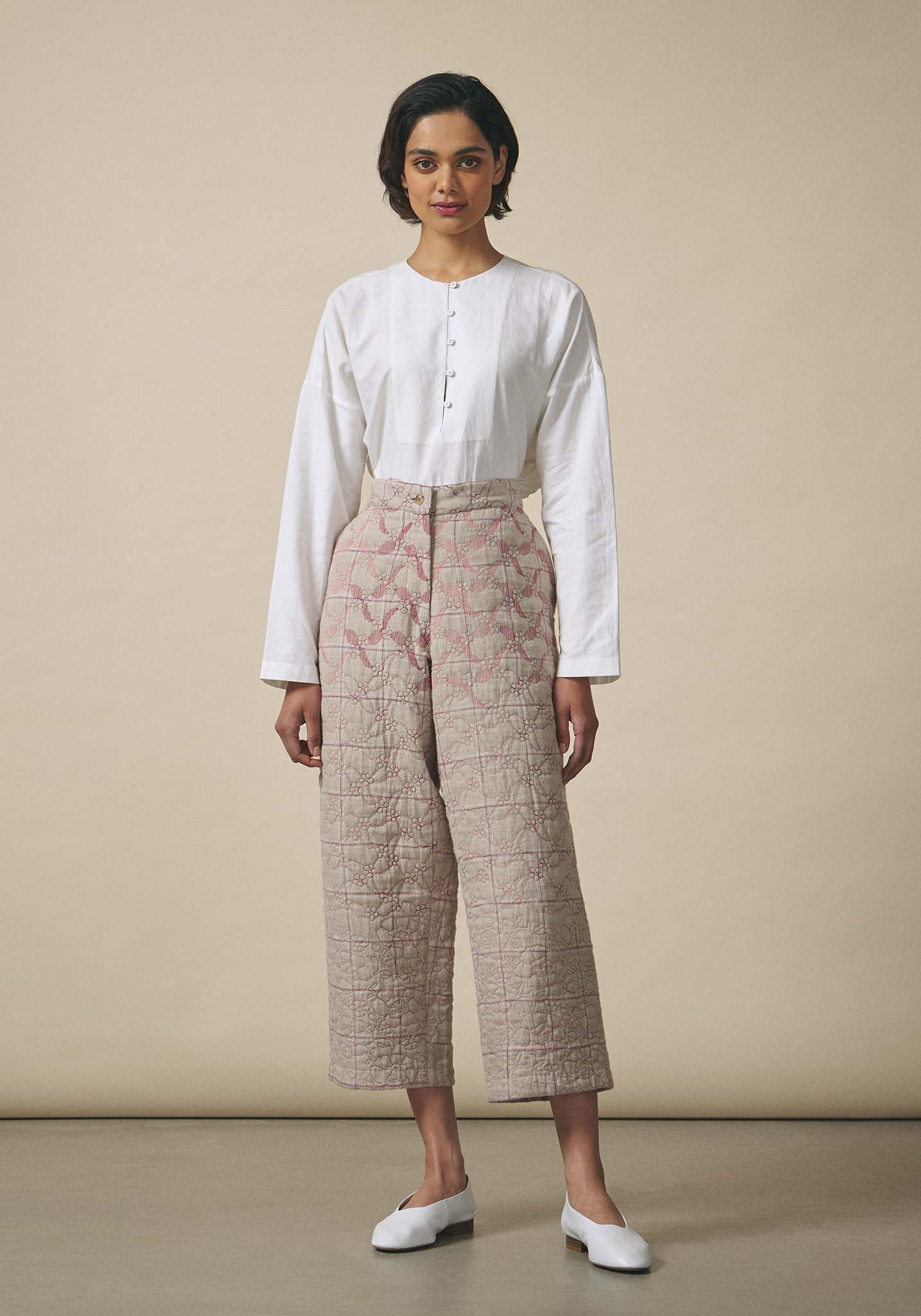 Untitled Co., Sand Quilted Linen Trousers