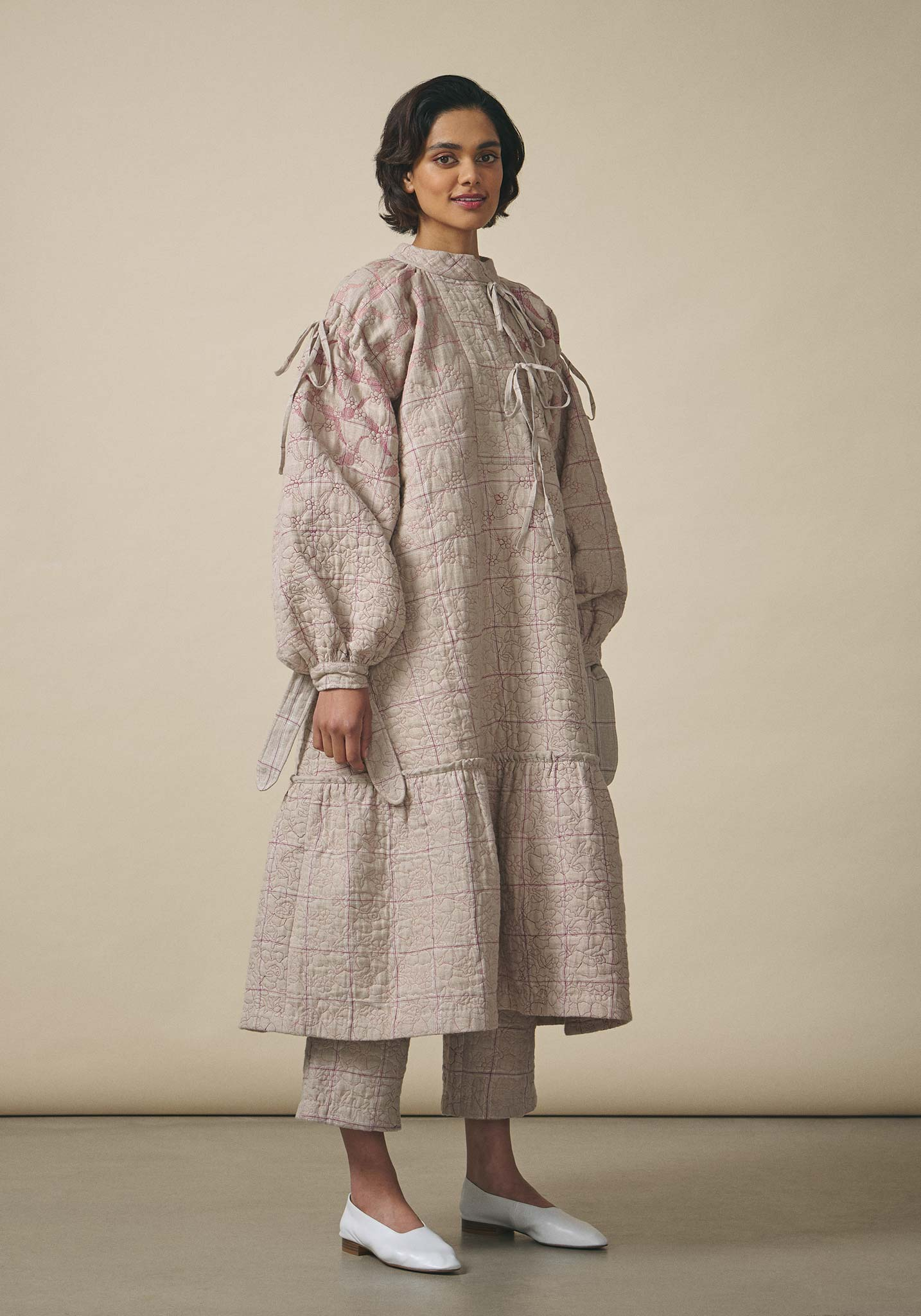 Untitled Co., Sand Quilted Linen Dress