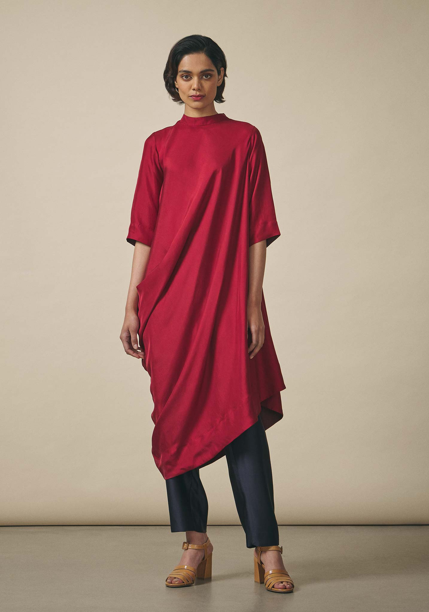 PayalKhandwala, Asymmetric Red Silk Tunic