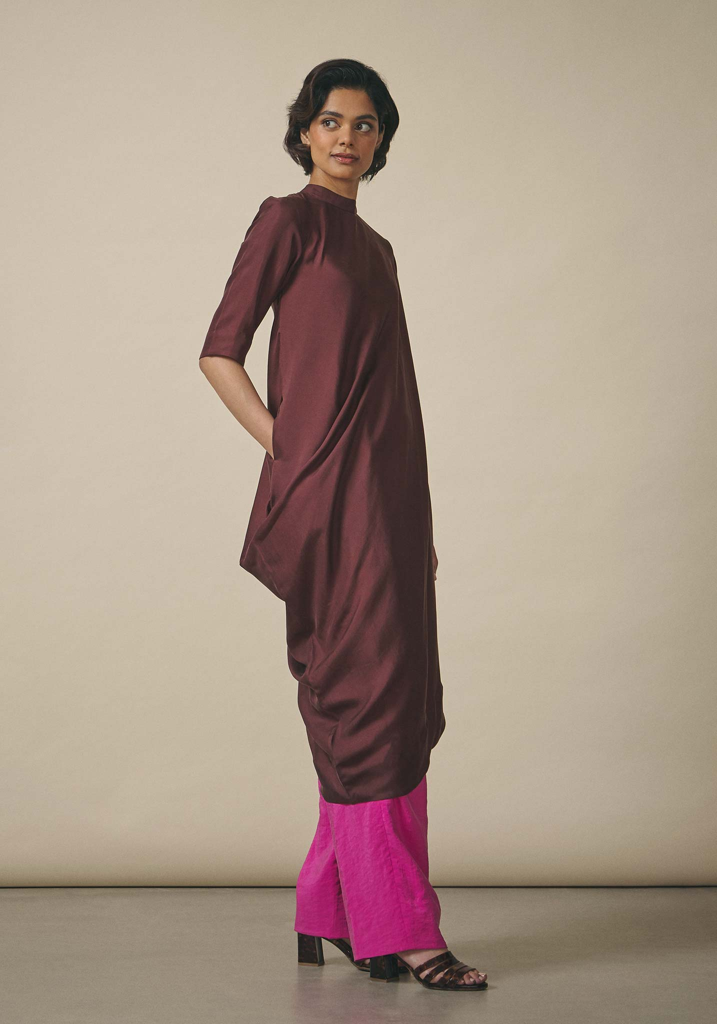 PayalKhandwala, Asymmetric Brown Silk Tunic