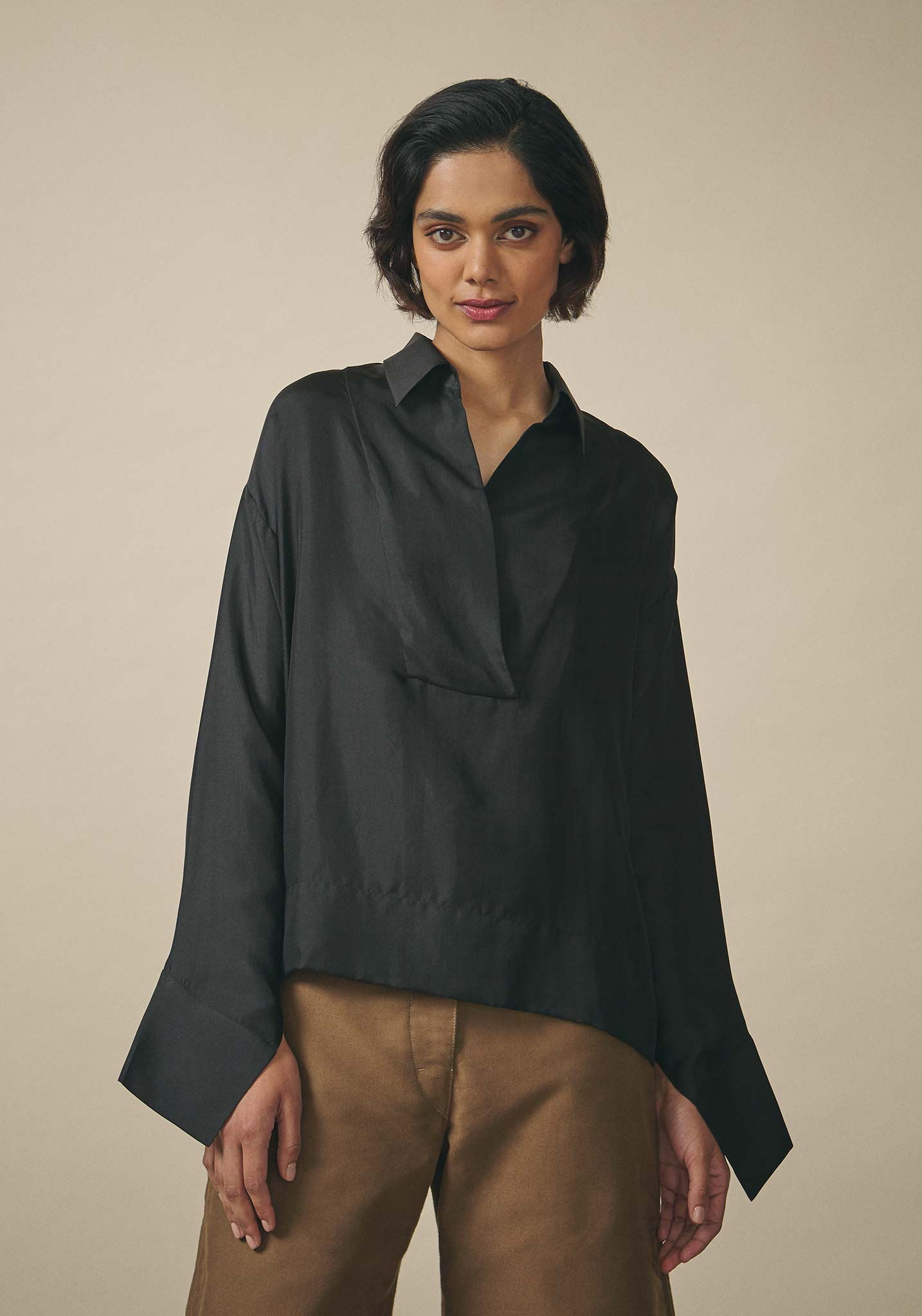 PayalKhandwala, Black Silk Shirt