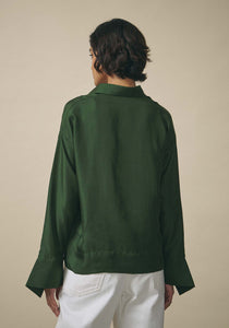 PayalKhandwala, Green Silk Shirt
