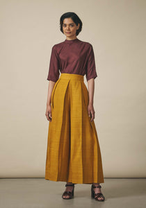 PayalKhandwala, Yellow Pleated Wide Leg Trousers