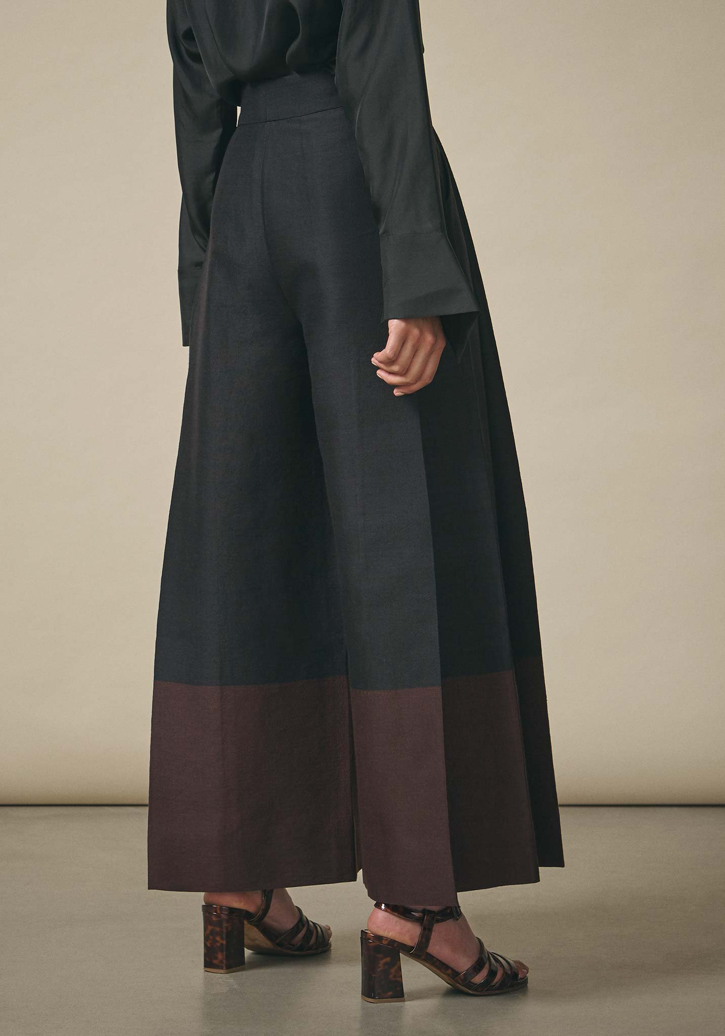 PayalKhandwala, Black Pleated Wide Leg Trousers