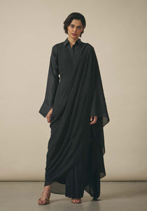 Rashmi Varma, Black Silk Sari Dress