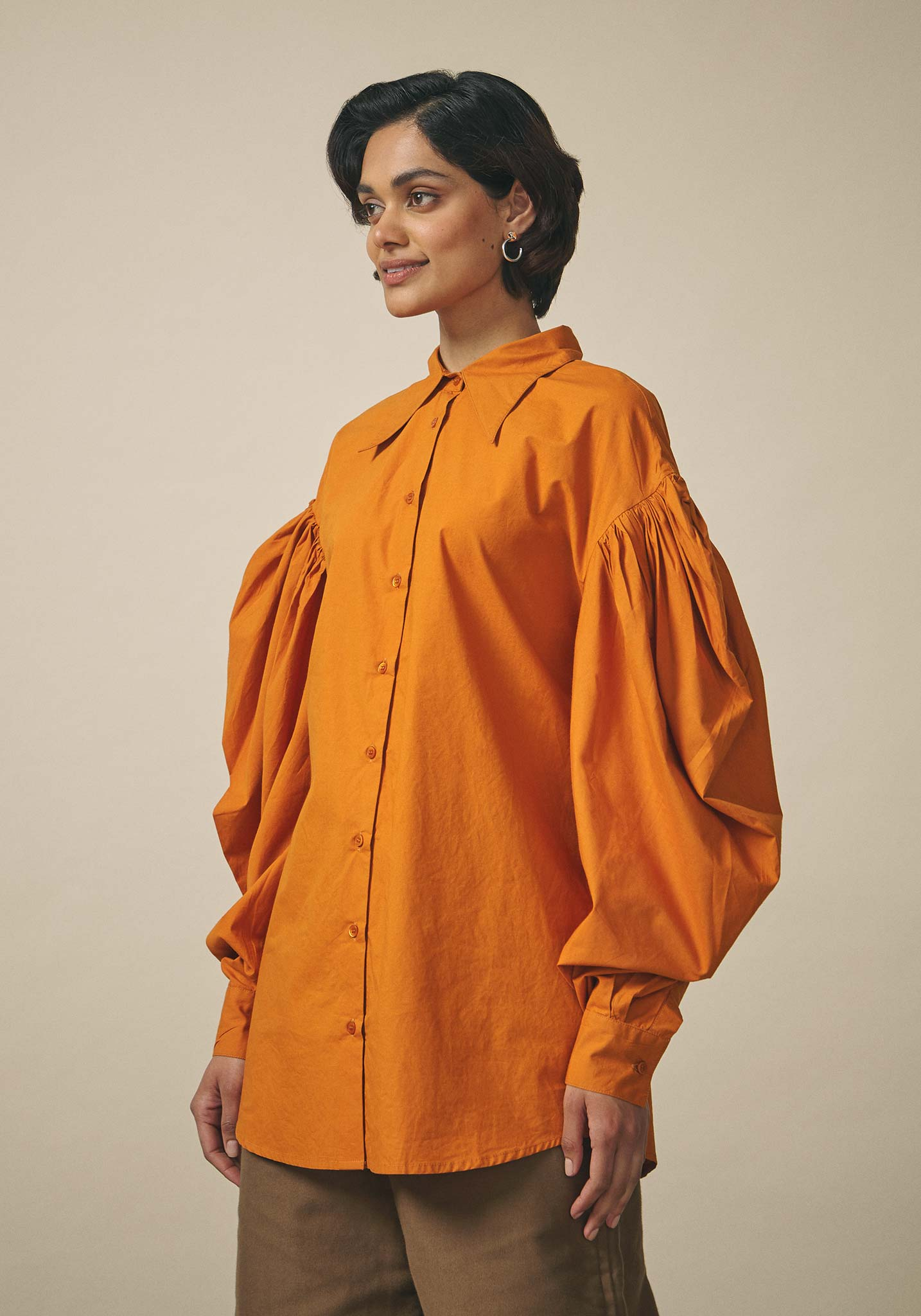 Dhruv Kapoor, Oversized Orange Wrap Shirt