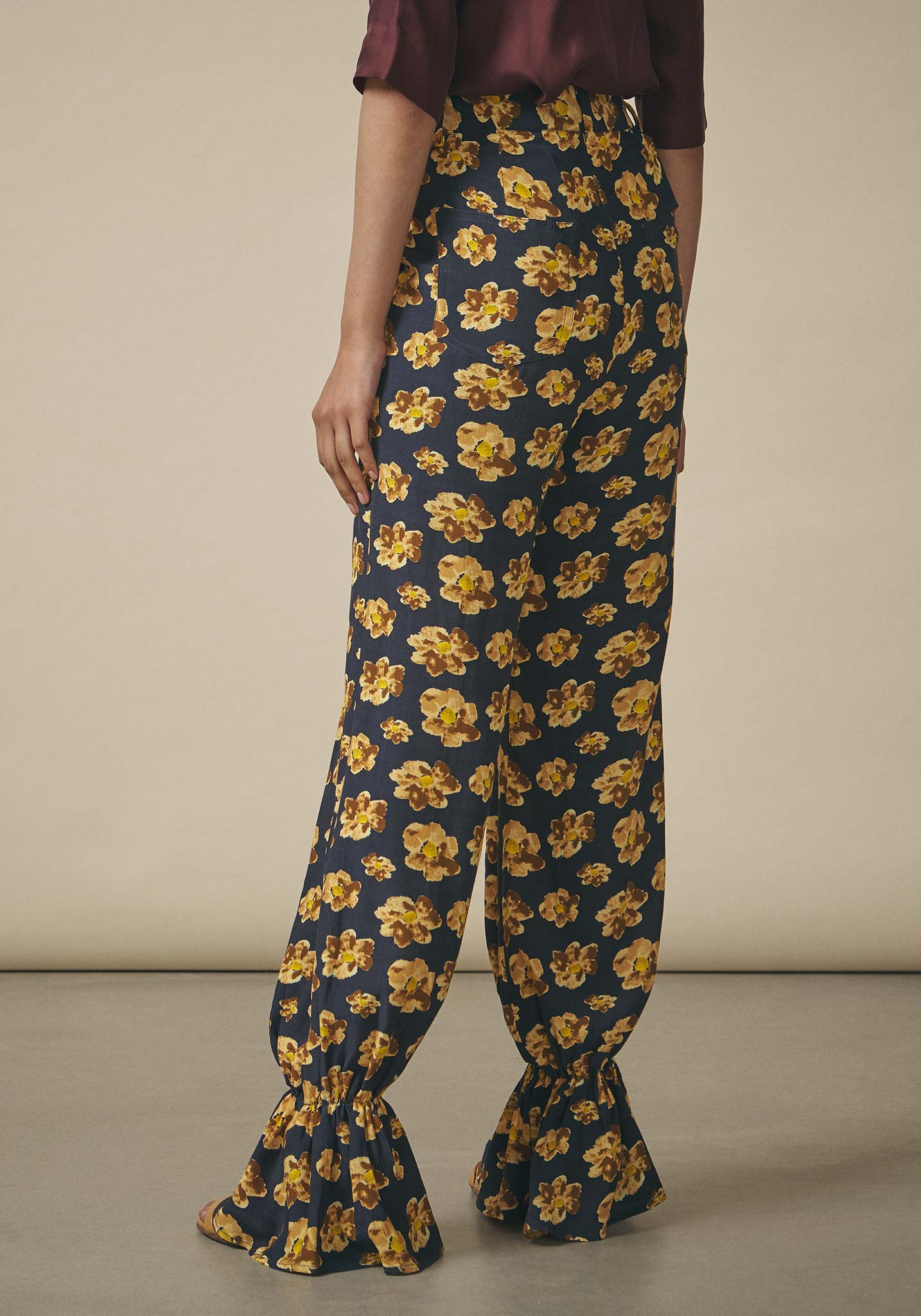 Dhruv Kapoor, Watercolour Print Ruffle Trousers