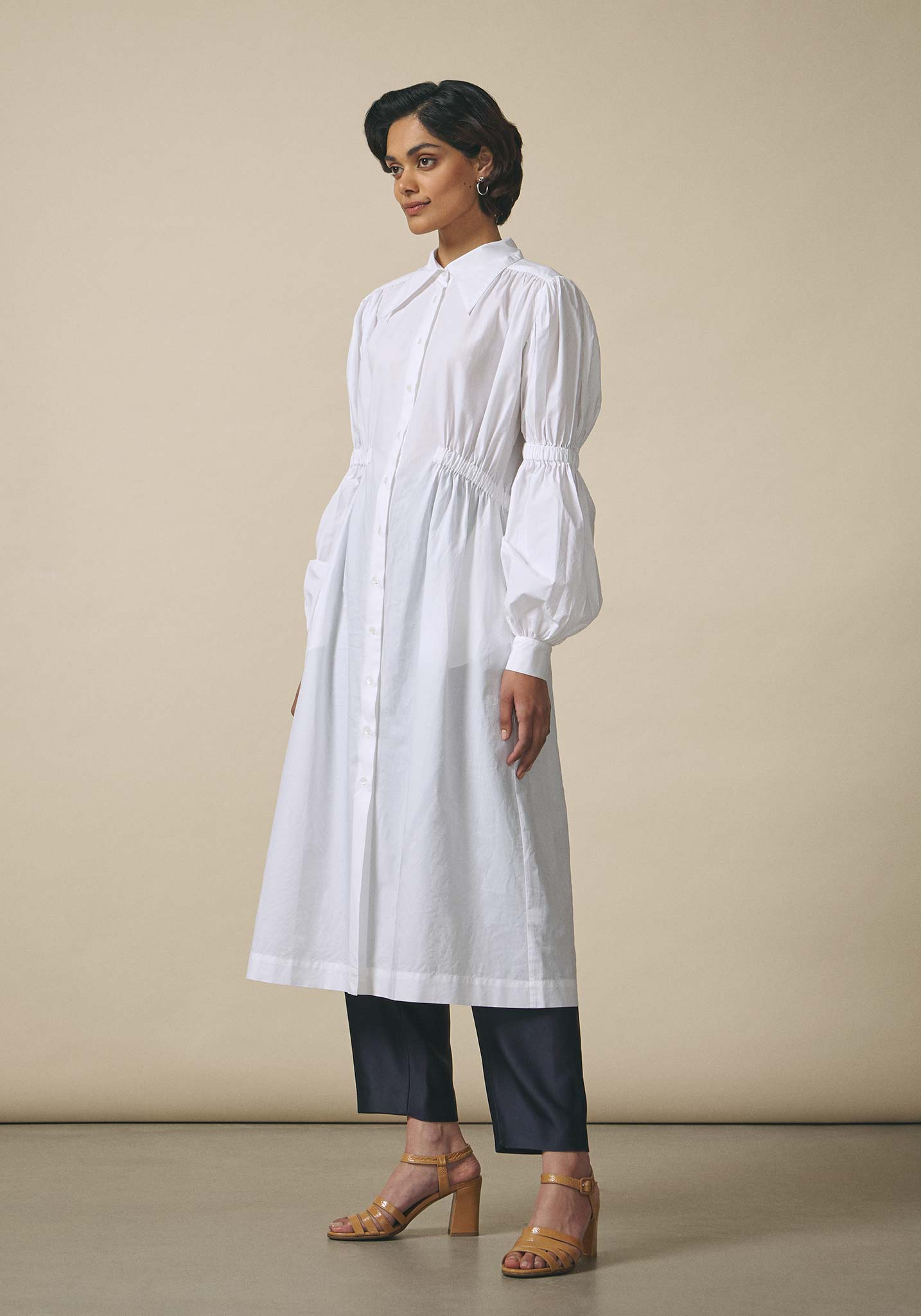 Dhruv Kapoor, Elasticated White Shirt Dress