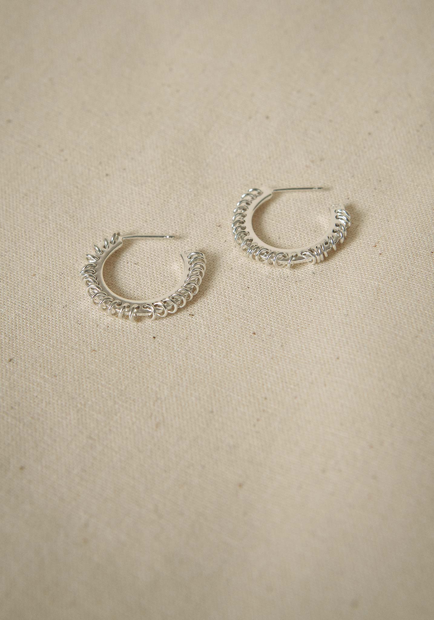 Zohra Rahman, Sterling Silver Medium Stitched Hoop Earrings