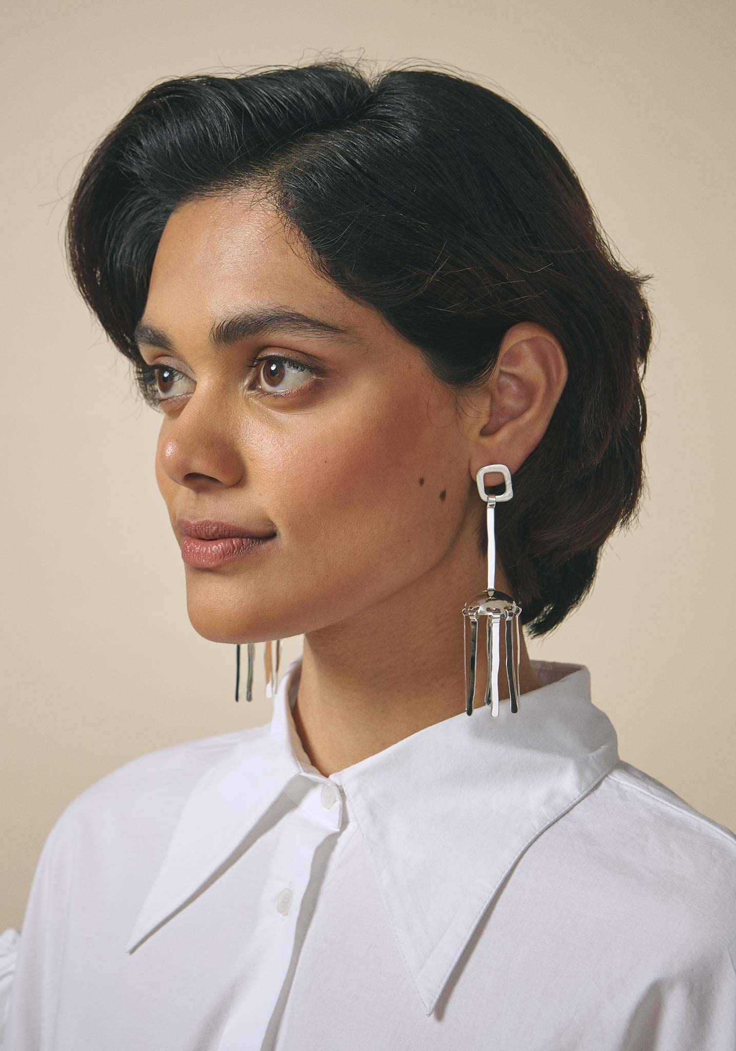 Zohra Rahman, Sterling Silver Jellyfish Jhumka Drop Earrings